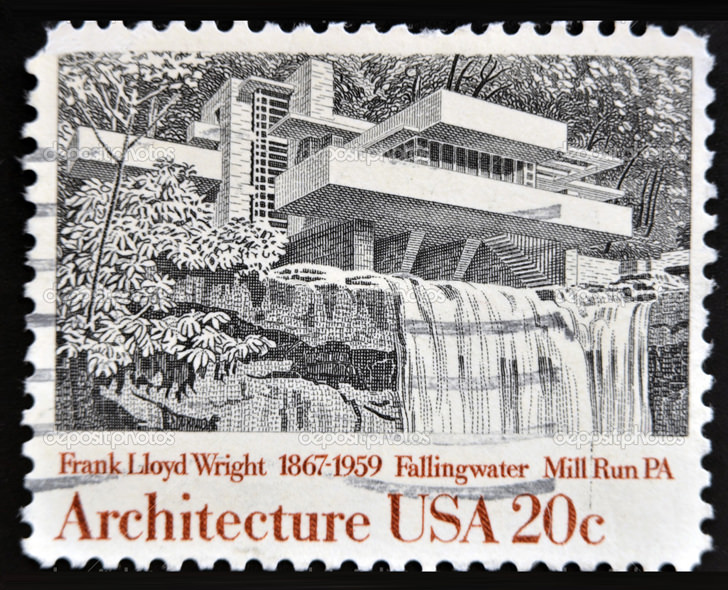 8 frank lloyd wright stamps for New york state architect stamp