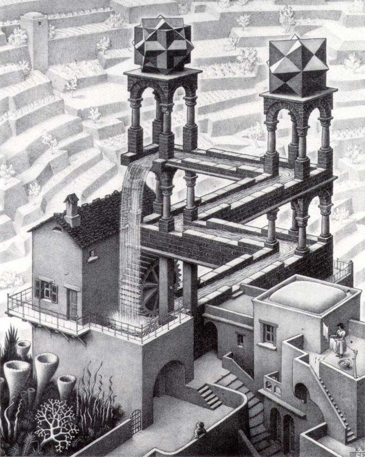 escher waterfall optical illusion