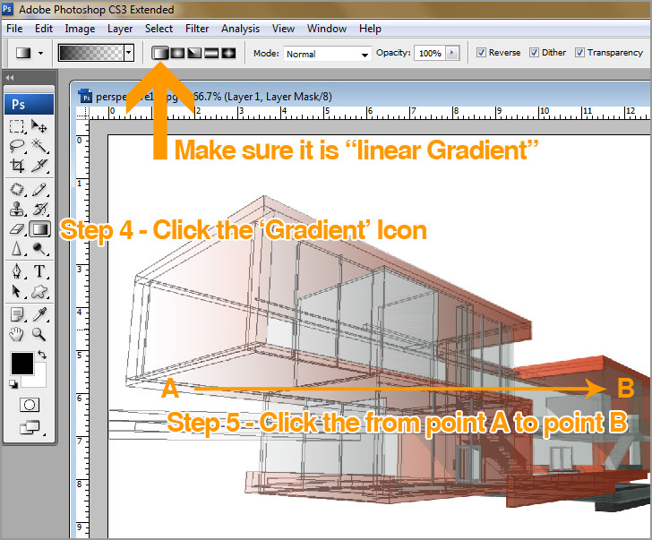 Gradient Masks over AutoCAD with Photoshop