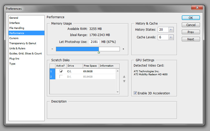 Increase Adobe Photoshop Performance And Memory
