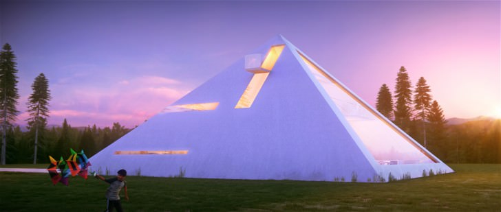 3D visualization of a pyramid house