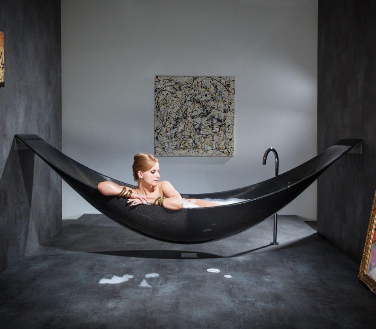 Vessel - Hammock Shaped Bathtub by SplinterWorks