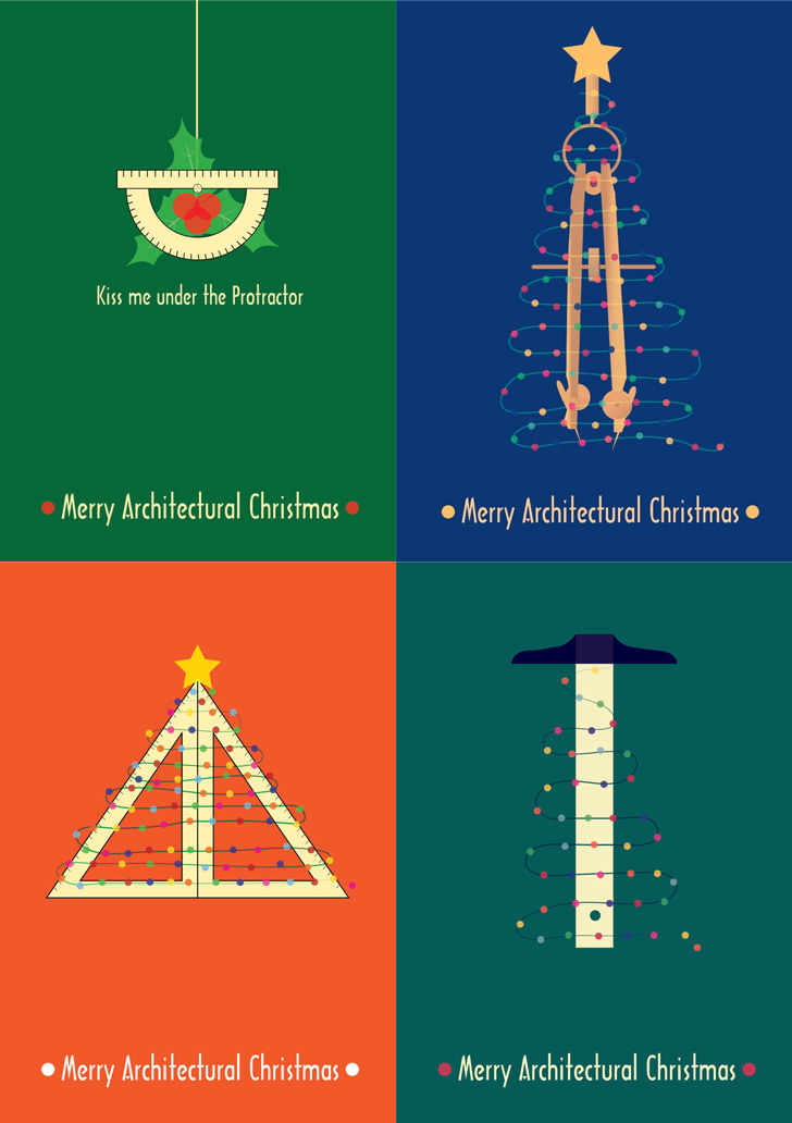 architect architecture christmas poster t square ruler