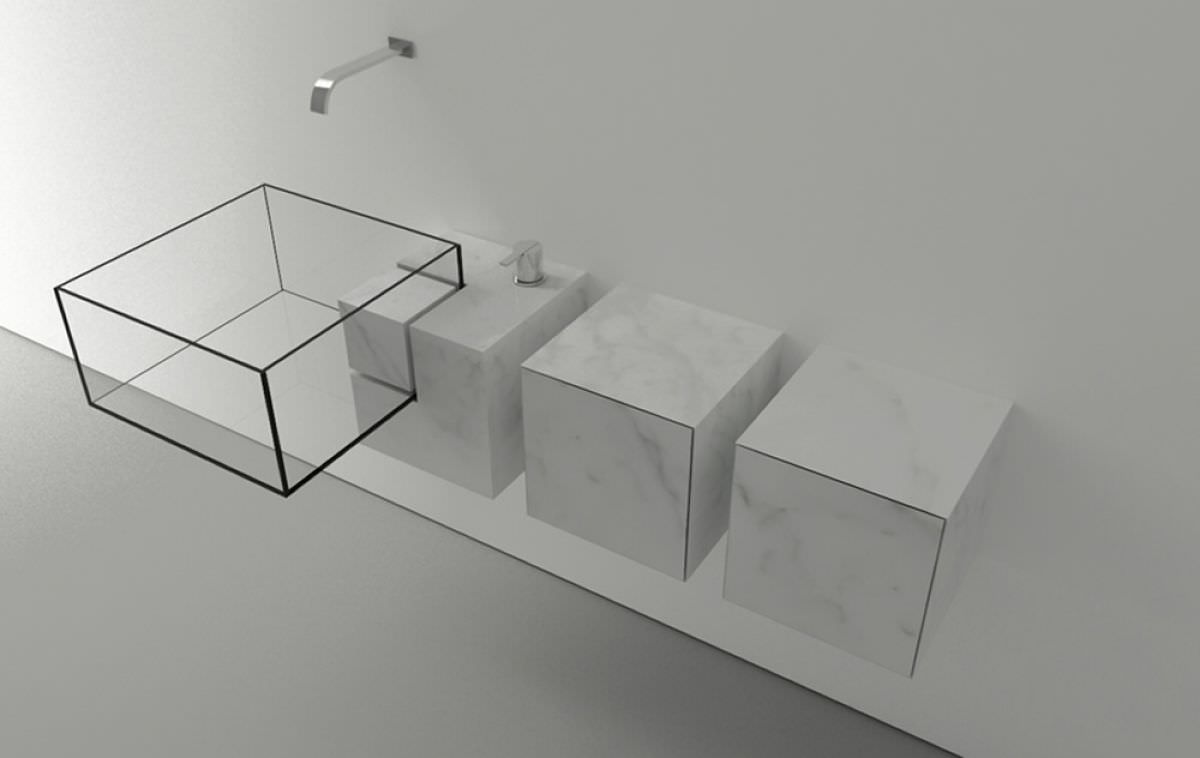 Kub Minimalist Basin By Victor Vasilev Architect Miragestudio - Almost invisible minimalist kub bathroom sink by victor vasilev