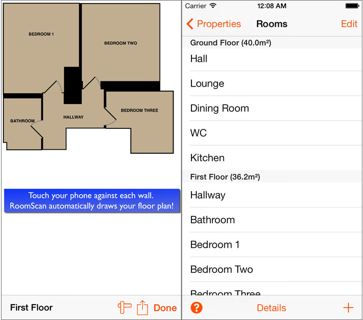 RoomScan - Floor Plan Measuring App for Apple iOS iPhone and iPad