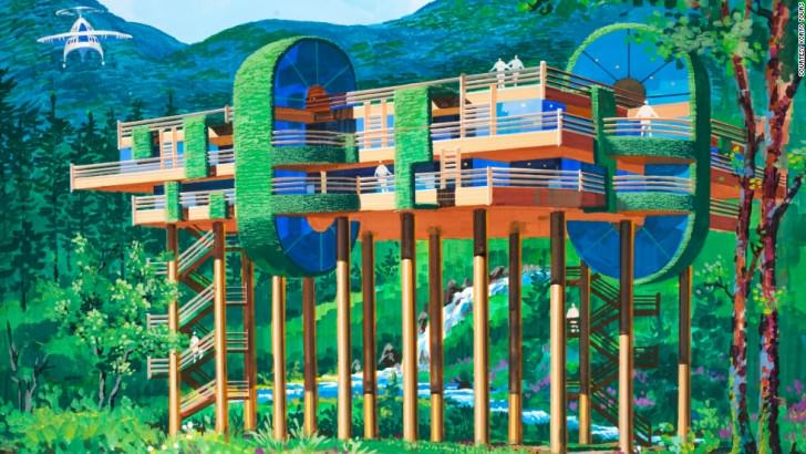 A woodland retreat on stilts. This secluded structure has four rooms catering for luxury accommodation as well as a helicopter landing pad to provide access. North Korean's Architect and Designer's Vision Of The Future