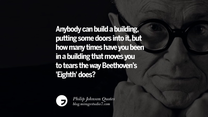 Anybody can build a building, putting some doors into it, but how many times have you been in a building that moves you to tears the way Beethoven's 'Eighth' does? Philip Johnson Quotes About Architecture, Style, Design, And Art