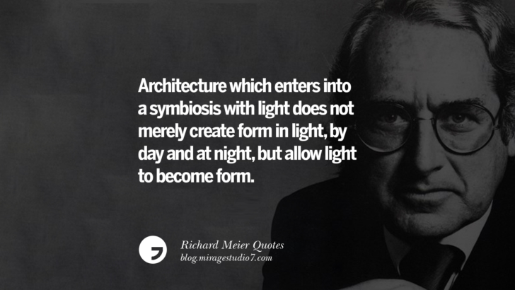 Architecture which enters into a symbiosis with light does not merely create form in light, by day and at night, but allow light to become form. Richard Meier Quotes On Time, Space, And Architecture